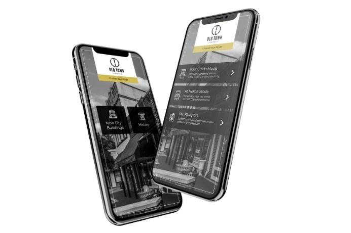 Iphone and Samsung cellphones displaying the ios and android mobile ar city app of lewsville tx built through ar development